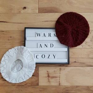 Accessories - White and maroon hats